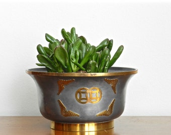 Vintage Asian Planter Pewter Indoor Planter Brass Inlay Made in Hong Kong Chinoiserie Chic