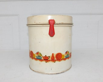 Vintage Tin Canister Original Decal Retro 1940s Cracker Can Cookie Tin