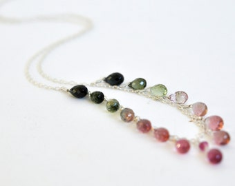 Watermelon Tourmaline Necklace- Pink and Green Tourmaline- Gemstone Necklace- Sterling Silver Necklace- Delicate Necklace- Ombre Teardrops