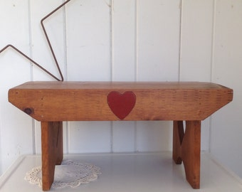 Vintage Bench Farmhouse Style Primitive Sturdy Pine with Hearts
