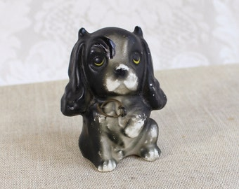 Devil Dog antique figurine- porcelain/ china- black gray puppy with horns and scowl on face- small, cute collectible- no makers mark