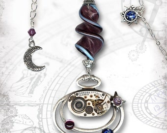 Galaxy Steampunk Necklace - Za Dee Da - The Time Traveller Collection - Deep Space Galaxy Time Spiral in Amethyst
