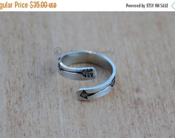 SUMMER SALE Sterling Silver Arrow Adjustable Wrap Ring Arrows - Adjust Bow Custom Personalized Customizable Customized Wrapping Wrap Around