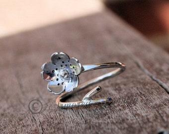 SALE SALE SALE Sakura Ring - Japanese Cherry Blossom Branch Adjustable Ring - Sterling Silver Cherry Blossom Ring