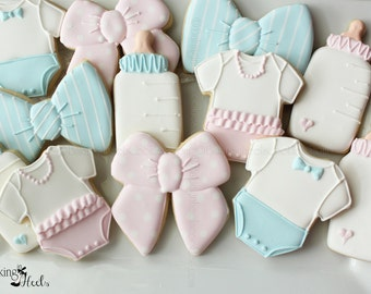 Gender Reveal Party Cookie favors, Baby Shower Cookies, Baby Onesie Cookies, Baby Bottle, Bow Tie Cookies, It's A Girl, It's A Boy Cookies