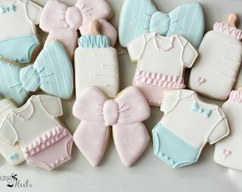 Gender Reveal Cookies, Baby Shower Cookies, Baby Onesie Cookies, Baby Bottle Cookies, Bow Tie Cookies, It's A Girl, It's A Boy Cookies
