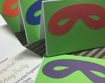 Superhero Party Invitations Personalized Custom Birthday Party / Superhero Mask / Handmade