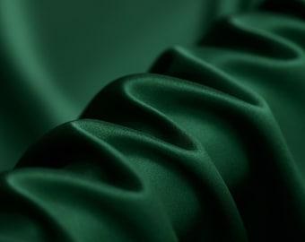 "Dark Green -Heavy Silk Satin -55""  width 40mm Solid Color-Luxury Silk Fabric for Evening dresses, summer Skits/Blouses/Dresses- 1 yard"