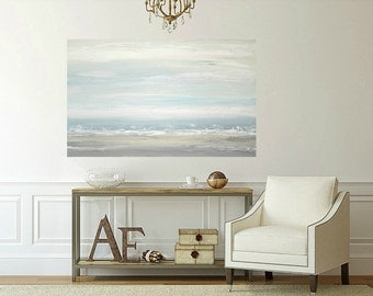 Art, Large Painting, Original Abstract, Acrylic Paintings on Canvas by Ora Birenbaum Titled: Gray Mist 7 30x48x1.5""