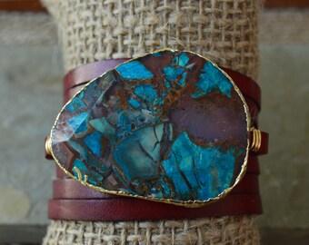 Ocean Jasper Leather Wrap Bracelet