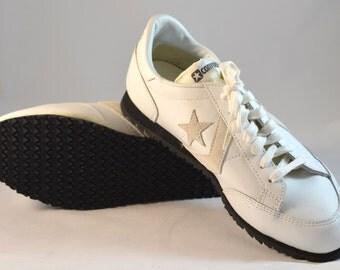 Deadstock 80's White Leather Converse Coach Oxford Shoe