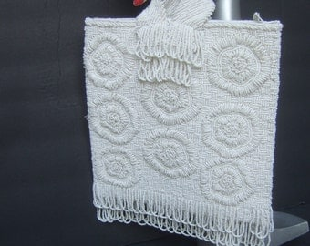 Exquiste White Glass Beaded Evening Bag c 1960
