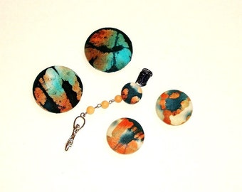 Button Fab - Multi-colored Batik Fabric Button Post Earrings and Coordinating Gemstone Loc Jewel