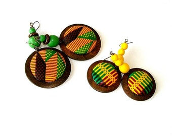 Button Fab - Traditional African Kente Print Fabric Button and Wood Dangles