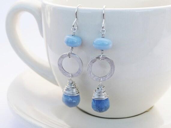 Blue Opal & Silver Earrings - Sterling Silver