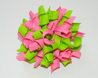 Hot Pink & Apple Green Korker Hair Bow