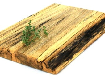 """Rustic Solid Slab Serving Board - Spalted Maple - Ready to Ship - 14""""x9""""x1"""""""