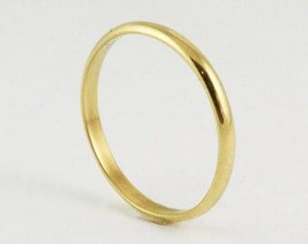 2mm 14k / 18k Half Round Wedding Band Ring - Yellow Gold