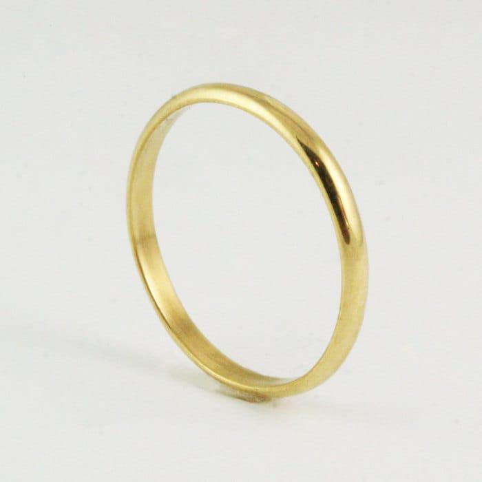 2mm 14k 18k Half Round Wedding Band Ring Yellow Gold