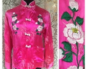 Boho Asian Pink Silky Embroidered Jacket - Frog Closures - Front Pockets - Mandarin Band Collar - Chinese Oriental Top - Womens M L XL