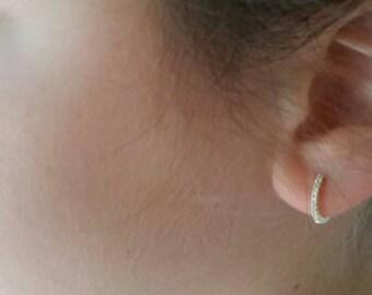 18K Solid Rose Gold 0.32ct Diamond 12.5mm Huggie Hoop Earrings