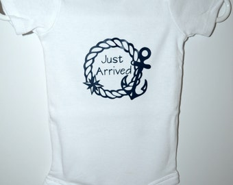 Baby Onsie, Bodysuit, Nautical, Just Arrived, Newborn, Baby Shower Gift, Navy, Anchor, Sailing Baby, Sailor Baby