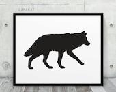 Wolf Printable. Black & White Wolf Silhouette Winter Animal Woodland Print. Modern Wall Art Nursery Home Office Decor. Instant Download Art