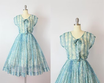 vintage 50s dress / 1950s sheer floral chiffon dress / NELLY DON dress / blue floral dress / garden party dress / Terrace Tea dress