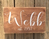 Personalized family sign. Family name sign. Family plaque. Family established sign.