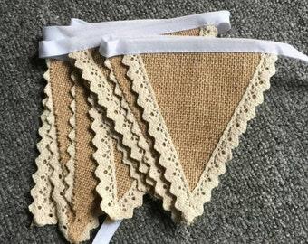 Burlap and Crochet Bunting 2M (6.5 feet)