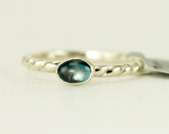 Blue Topaz Stacking Ring - 4 x 6 mm London Blue Topaz Ring -  Sterling Twist Band