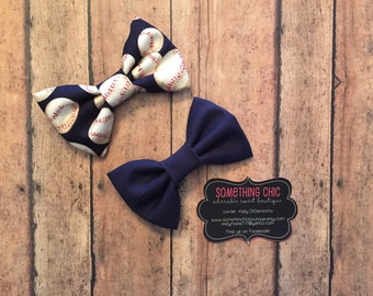 Boys Baseball Navy Bow tie Sports Bow tie Set of Two Baseball Toddler Infant Tie Dog Collar Bow Hairbow Shower Gift
