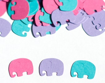 Girl Baby Shower,  Elephant Confetti, Elephant Baby Shower Decor, Modern Hot Pink Purple Turquoise, Birthday