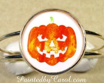 Jack-O-Lantern Bracelet, Halloween Bracelet, Jack-o-Lantern Jewelry, Halloween jewelry, Pumpkin Bracelet, Halloween Cuff, Pumpkin Jewelry