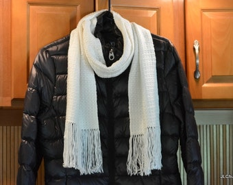White Drapey Handwoven Scarf