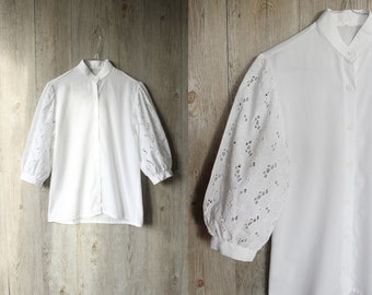vintage eyelet cotton blouse,lace blouse,cutout blouse,white blouse,boho blouse,peasant top,small boho blouse