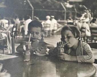 Original Vintage Photograph Slurping Shakes