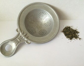 Vintage French Tea Strainer, Aluminum Tea Strainer, French Country Kitchen