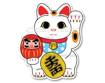 Lucky Cat / Maneki Neko // Vinyl Sticker / Decal
