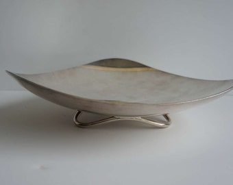 Vintage Atomic Age Silverplated Serving Dish by Fisher 1960s