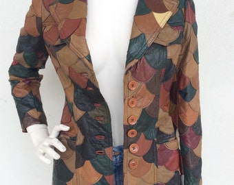 1970s leather multicolor fishscale patchwork jacket/blazer
