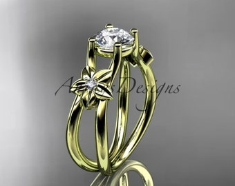 "14kt yellow gold diamond floral wedding ring, engagement ring with a ""Forever One"" Moissanite center stone ADLR130"