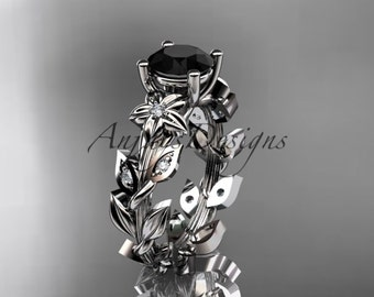 platinum diamond floral leaf and vine wedding ring, engagement ring with a Black Diamond center stone ADLR215