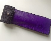 Handstitched two colour black and purple leather pen holder pen case with a sivler stud