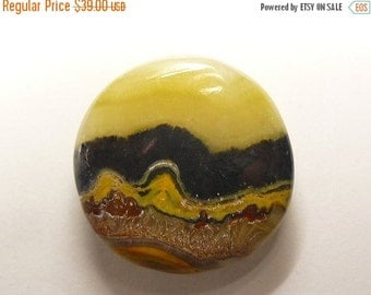 Bumble Bee Jasper Designer Cabochon, round shape, rare cabochon, low dome, black and yellow cab (bb92361)