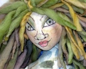 Warbler Bird Art Doll,  Nature Fairy Faery Sprite Cloth Art Doll