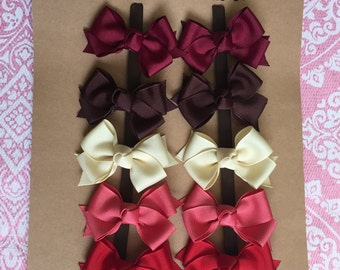 READY TO SHIP - Fall Colors - 10 Small Classic Pigtail Bows