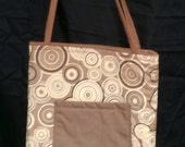 Brown Modern Dots Activity Bag with a Ton of Activities Included. Cotton with 2 Long Carry Straps, Large Pockets, Batting, Super Soft, FUN!!