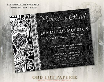 Sugar Skull Party Invitation Day of the Dead Dia De Los Muertos Halloween Invite Calaveras DIY Printable Sugar Skull Party Invitation