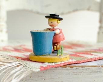 Vintage Figural Strawberry Toothpick / Egg Holder  - Mid Century